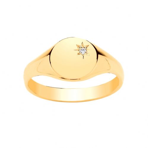 Yellow Gold Ladies Oval Heavyweight Diamond Set Signet Ring